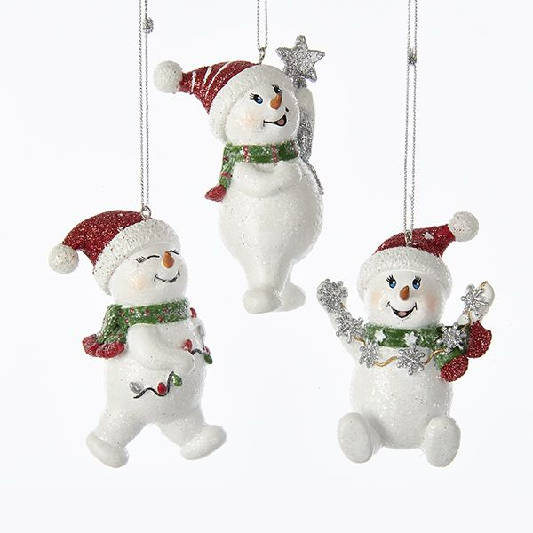 8c6032d29b101 Resin Snowman with Red Hat 3 Assorted