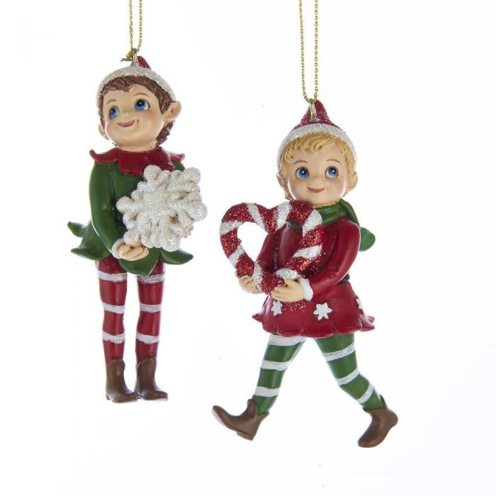 huge discount b4268 7f30f Red, White and Green Elf Ornaments, 2 Assorted