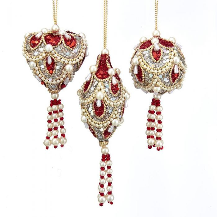Miniature Christmas Ornaments.Ruby And Platinum Miniature Christmas Ornaments 3 Assorted